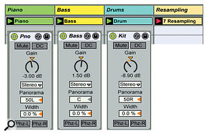 1: Piano, bass and drum loops are resampled to capture a loop with those parts converted to mono, and panned, respectively, hard left, centre and hard right. Utility is used to convert the parts to mono (Width 0.0 percent), pan them and adjust their gains to make each peak at -9dB, so that each channel of the resampled stereo file peaks at -3dB.