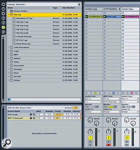 Groove files in the Library (top left), and the Groove Pool (bottom left).