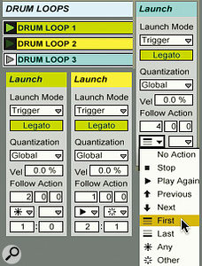 In this Follow Actions setup for three drum-loop clips, the green loop might continue playing or switch to the yellow or blue loop after two bars (Action: Any). After one bar, the yellow loop will continue playing two out of three times (Play Again) and trigger another loop (Other) one out of three times. The blue loop always plays for four bars then triggers the green loop (First). All loops are in Legato Launch Mode, which ensures that each new loop picks up at the same time position as the current loop leaves off.