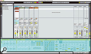 A frozen MIDI track. The Instrument Rack is frozen, but you can continue to launch Clips, record and edit arrangements, and use the mixer channel.