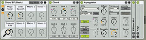 1: ASimpler with an electric-piano preset, an Amp effect, and two of Live's MIDI effects — Chord and Arpeggiator — are collected in an Instrument Rack, which has been named 'Chord EP (Basic)' and saved as aLive device. The Rack's first two Macro knobs have been mapped to toggle between major and minor chords with asixth or seventh on top. Macro knob 5 sets the Arpeggiator rate.