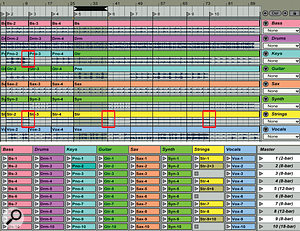 1: The arrangement at the top has been captured in the 10 Scenes shown in the Session view at the bottom. The Scene numbers match the Arrangement view Locator numbers, and all of the clips were Consolidated from the areas between adjacent Locators. The red boxes indicate clips with tails that may pose aproblem when looping. When necessary, you can merge those clips to create one-shots, as was done here with three strings clips.