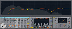 2: Live 9's EQ Eight, Compressor and Gate (not shown) devices feature enhanced displays and reworked engines. In particular, you can expand EQ Eight's display and manipulate the bands graphically in avariety of new ways. The new Glue Compressor features parallel compression, ultra-fast attack and soft clipping.