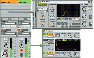2: The synth on the Analog Pad track is processed by ahigh-pass Auto Filter (top right). The Auto Filter's envelope is driven by aside-chain input from asynth bass with the quick volume envelope (bottom right). The long release time ensures that the bass comes in before the synth. When playing afast bass line you'll hear the synth on only the last note.