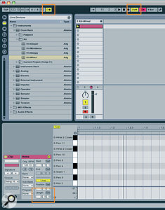 A new, empty Clip in the drum track. The loop-length field (bottom left), Metronome button (top left), and MIDI Overdub button (top right) are highlighted.