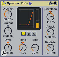 A lifeless drum track is given a little warmth and some subtle higher frequency grit via Live's Dynamic Tube — note the low Drive settings.