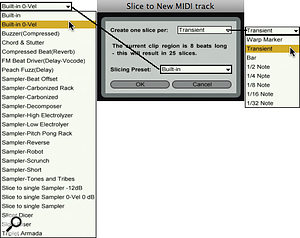 Select the slicing resolution from the menu at the right and the instrument preset from the menu at the left.