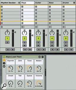 2: When you drag the template 'Songwriter Rhythm Section' into your current set, you get a track group with electric piano, guitar, bass and drum tracks. You can replace any of those instruments with synthesized or sampled versions of your own choosing, and then drag the track group back to the library to create a new rhythm-section template.