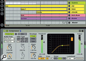 The Submix Group captures all tracks except the drums. The Compressor is inserted on the Group track and the kick‑drum track feeds the Compressor side‑chain input, causing the submix to be ducked by the kick drum. This produces the pumping often characteristic of house and dance music.