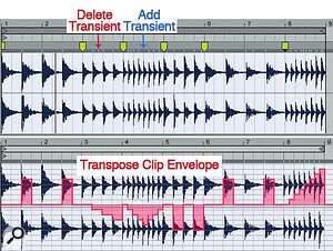 2: Warp markers have been inserted at the bar lines for bars 3, 4, 5, 6 and 8 in the top clip. Shift‑dragging to the right on each of those Warp markers adjusts the number of pulses to the previous Warp marker. Add and delete Transient markers as necessary until all pulses have a Transient marker. Use the Transpose clip envelope to re‑pitch some of the pulses (bottom).