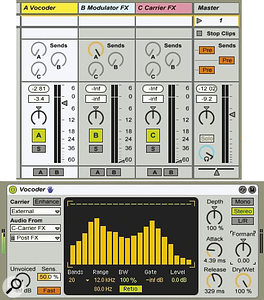 The three Return tracks at the top manage the vocoder, the modulator effects processing and the carrier effects processing. Their fader levels let you audition the effects‑processed modulator and carrier, but you'll probably want them at minimum after the effects have been set up.