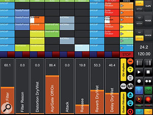 TouchAble's clip matrix occupies the top half of the screen and the device editor the bottom half. The right edge of the display shows the view selector at the top and transport controls at the bottom. Hidden behind the transport controls (tap the TRSP button at the bottom right to reveal them) you'll find selectors for TouchAble's MIDI keyboard, MIDI pad and XY Pad.