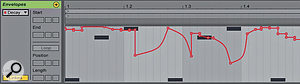 3: Automation in Live 9 can now be recorded (or drawn) on Arrangement view tracks and in Session view clips. In either case, you can now create automation curves, as shown here in aSession view clip, and add and delete breakpoints with asingle click.