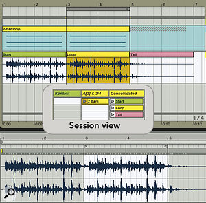 A two‑bar loop is stretched to four bars so as to include one repeat. After freezing, six bars are selected and copied to the audio track below — this includes the first loop, the second loop with spill‑over of the tail from the first loop, and the tail from the second loop. The inset shows the clips copied to Session view slots for manual triggering. The sample display at the bottom shows the Loop clip.