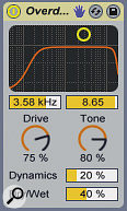 A lead synth is given more upper frequency harmonics with Overdrive to help it slice through the mix.