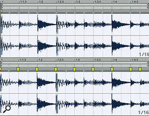 Transient markers correctly identify new sonic events at most 16th notes (top), but setting Warp Markers for 8th-note slices, with one 16th-note slice at the end (bottom), turned out to be more musically useful for this clip.