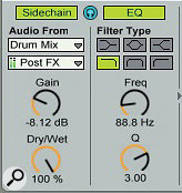 The EQ section of the Compressor's side‑chain input lets you focus the side‑chain frequencies you want to use to trigger compression. Use the Headphone button (top‑centre) to solo the side‑chain input while dialling in the frequency and Q settings.