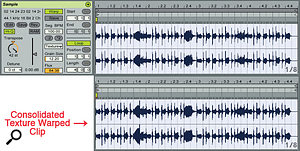 3: Extreme transposition with the Texture Warp mode can completely change the sound of a clip while leaving its rhythmic structure largely intact. Note the similarity of the before (top) and after (bottom) clip graphics of this bass clip, which has been transposed up by 42 semitones. The small grain size and large Flux setting (randomisation) produce a whisper-like sound.