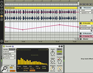 This vocoded rhythm‑guitar setup features along‑tail reverb processing the carrier while the dry guitar is used as the modulator. The automation of the vocoder's Formant knob produces aphaser‑like effect.