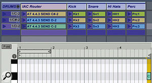 In this screen, MIDI notes C‑2, C#‑2, and D‑2 are assigned to remotely trigger the first three group scenes of the Drums group. In addition to the drum loops on the Kick, Snare, Hi-hats and Perc tracks, the group scenes include the MIDI clips on the IAC Router track. At the last eighth‑note of the fourth bar, the clips send the remote commands indicated in the clip name to trigger other group scenes.