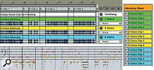 3: Here, four bass clips have been harmonised using three different Vielklang setups. The Vielklang two-voice harmonisation is shown at the bottom left. After Consolidating, the relevant clips were moved to asingle Session view audio track (right) for triggering independent of the timeline.