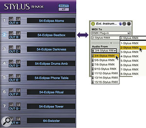 The Stylus RMX mixer channel receives MIDI on the MIDI port of the same number and sends its audio output to the output port shown in the left column. The External Instrument shown here sends MIDI to RMX channel 2 and receives audio from Out B, which is labelled '3/4‑Stylus RMX' in the External Instrument's 'Audio From' menu.