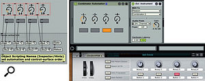 3: The panel on the left shows the simple Max patch for mapping Max knobs and buttons to Combinator rotaries and buttons. The resulting Max For Live MIDI effect is placed before the External Instrument mapped to the Combinator, as shown on the right. You can then use those controls manually, as well as record or draw track automation for them.