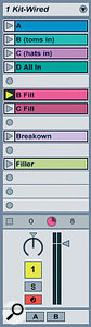 The drum track with several named and colour‑coded patterns.