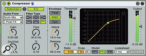This mastering compression setup uses the side‑chain input's Dry/Wet mix to emphasise the drums for threshold detection. High‑pass EQ obviates pumping by reducing the level of the bass and kick-drum frequencies.