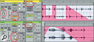 4: A two-bar bongo loop is quadrupled in tempo and Texture warped with a 16-semitone upward transposition and Grain Size automation (top). The consolidated result is then Beats warped with one‑bar intervals and Transpose automation.