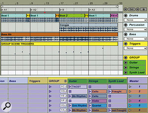 A 32‑bar drum and bass arrangement occupies the top three Arrangement‑view tracks. Six Group Scenes are shown in session view at the bottom. The yellow 'Group Scene Triggers' arrangement‑view MIDI clip sequences the group scenes to create a temporary arrangement.