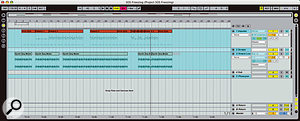 The top part of the arrangement (MIDI) was recorded after the track was frozen. The audio track shows an arrangement that has been frozen, along with reverb/delay tails.