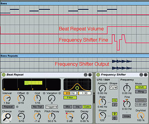 4: The sequenced bass line (top) is processed by Beat Repeat followed by Frequency Shifter. Automation silences Beat Repeat until the last bass note, which is repeated with a pitch decay. Frequency Shifter's Fine knob is also automated to contour the shifts of the repeats.
