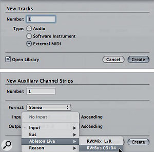 4: Use the Track drop-down menu to create an External MIDI track for routing MIDI from Logic to Live (top). Use the Mixer's Options drop-down menu to create an Auxiliary Channel Strip for routing Live's audio back to Logic (bottom).