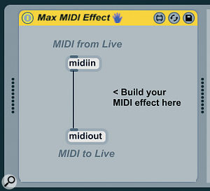 The default Max MIDI Effect: a software MIDI Thru.