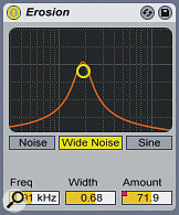 A pad sound is manipulated with Erosion during a breakdown, with the Amount automated to add more distortion over time.