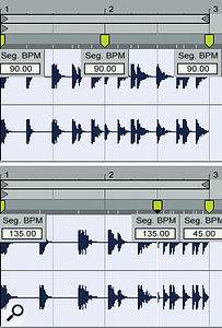 5: Freshly inserted Warp markers (top) all show the clip's natural tempo of 90 bpm. Moving the middle Warp marker two beats to the right increases the natural tempo for the first segment and decreases it for the second segment.