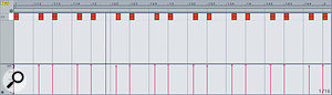 A classic MPC swing template, as viewed in aMIDI track.