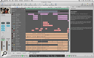 Logic 9 comes with three new demo Projects from well-known artists. Here you can see 'Spaceman' by the Killers making use of the Arrange window's new Notes area. Notice also the subtle improvements in the clarity of the EQ graphs and the bolder line around the area of the Arrange window that has focus. It's the little things that count.