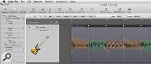 When editing with Flex Time, Logic colour-codes the waveform to indicate where time has been compressed or expanded, making it keep track of your edits. Notice also that audio regions processed with Flex Time gain certain parameters normally associated with MIDI regions, such as Quantise.