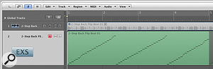The new Convert Regions to New Sampler Track command enables drum loops to be sliced, converted into an EXS24 instrument, and triggered by a new MIDI region. Here you can see the audio region on the upper track has been converted so that it can be triggered by the MIDI region on the lower track.