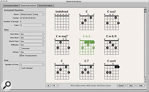 The new Chord Grid Library lets you browse and edit the 4692 chord grids supplied with Logic.