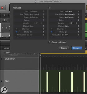You can remap MIDI notes in your selected drum instrument from Drummer's GM mapping using Logic's new Step Editor.