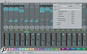 In this screen I've grouped all the drums together, which you can see by the group name (coloured yellow). In the Group settings dialogue we're able to set which parameters will affect the entire group. For example, with the settings here, if I automate one drum from the Group, all the other drums will be similarly automated.