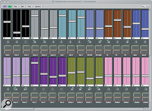 The basic mixing screen offers 32 channels of volume and pan controls, plus solo and mute buttons.