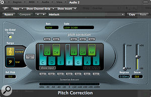 Shows five notes still selected (C, D#, F, G and A#), and aresponse time of zero milliseconds. The result will be amachine‑perfect vocal performance with only five notes allowed!