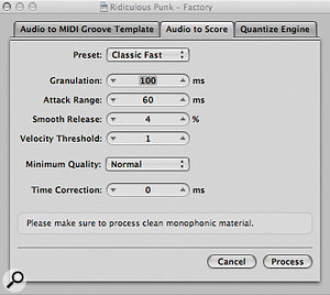 The Audio to Score dialogue. Experiment with the presets and other choices here to achieve a suitable conversion of your audio recording into MIDI events