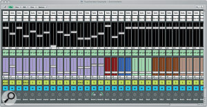 A useful Environment mixing template, offering (top to bottom): 0dB button, phase invert button, gain fader, high‑pass on/off and cutoff frequency controls, solo, mute and pan controls.