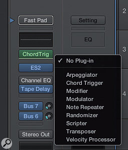 Adding a MIDI plug-in to a software instrument channel strip.
