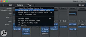 The 10.1 update adds VCA faders to the Logic mixer.